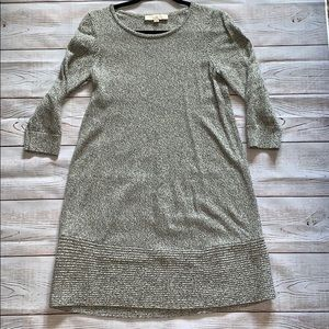 LOFT Grey Twill Long Sleeve Dress